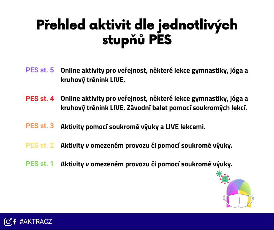 Přehled aktivit dle jednotlivých stupňů PES (4)